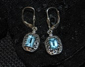 RESERVED Vintage Blue Topaz Sterling Silver Art Deco Cut Out Earrings Lever Back Perfect for a Wedding #BKC-ERNG08PC