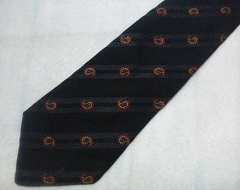 Vintage Rochas Paris Silk Necktie Logo Pattern Tie Made In France