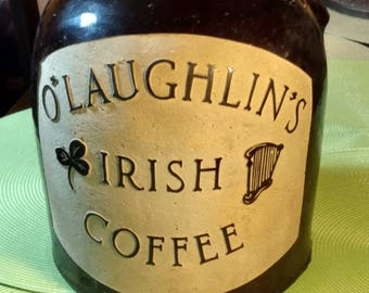 Antique Old Brown Crock Jug Etched with Irish Coffee Advertising