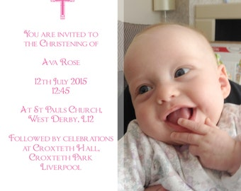 Personalised Square Christening Baptism Invitations. Party event invites. Baby Boy Girl party Inviting celebration - B001