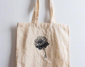 Protea / Hand illustrated organic cotton tote bag
