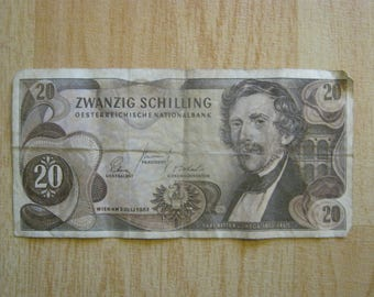 Austrian 20 Zwanzig Schilling Note 2nd July 1967 Used & Circulated