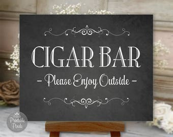 Cigar Bar Printable Wedding Sign, Chalkboard Style, Party Sign, Choose Your Size (#CIG1C)