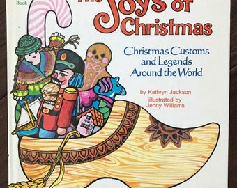 The Joys of Christmas Book 1976, Christmas Customs and Legends Around the World by Kathryn Jackson, A Golden Book, Preschool, Decoupage