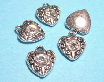Antique Silver Heart with Clear Rhinestone Charms Pendants 12mm