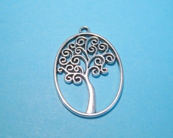 10pcs Antique Silver Oval tree Charms Pendants 40x26mm Double Sided