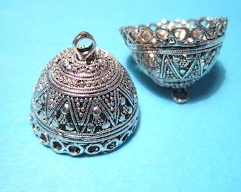 3pcs Antique Silver Extra Large Tassel Caps Cone Bead Caps