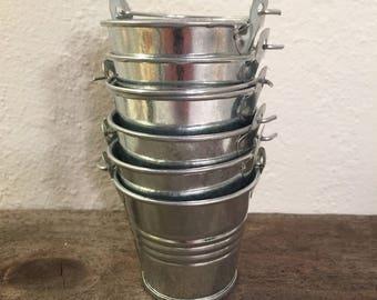 buckets small metal buckets 6 silver buckets succulents party favors tiny bucket shinny buckets