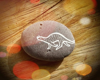 Running Otter Painted Pebble - Hand Painted Otter Art Totem Decoration Stone - MADE TO ORDER