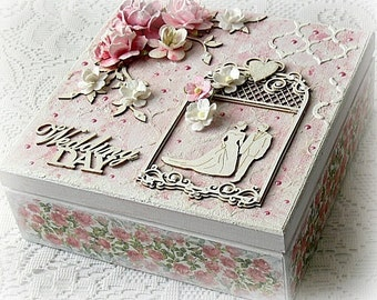 Mixed media wedding box , wedding treasury box , Wedding Day box , keepsake box , mixed media wooden box , pink box , pink roses