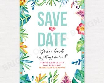 Tropical save the date card | digital download
