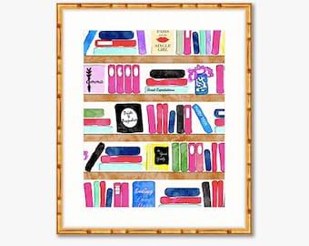 Brainy Beauty's Bookshelf -- Watercolor Print -- Home Decor -- Read Colorfully