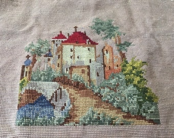 "Vintage Rustic Village Finished Needlepoint Panel 8""x 9"""