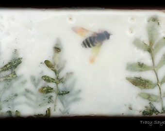 "SOLD  Original Art - Encaustic painting ""Bees in the Garden (2)""  -  6x3 stone tile  #bee #savethebees #encaustic  #original art"