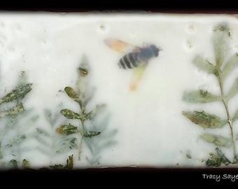 "SOLD  Original Art - Encaustic painting ""Bees in the Garden (2)""  -  6x3 stone tile  #bee #savethebees #encaustic  #original art"