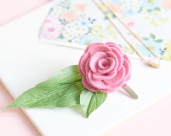 Pink flower hair clip for women   bridesmaids hair accessories   leafy hair clip