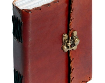 SouvNear Leather Writing Journal Poetry 5 x 6 Olde Worlde -Poet's Pocket Notebook