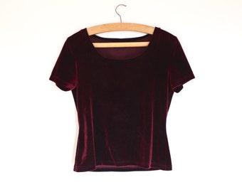 Vintage 90s Maroon Velvet T shirt // scoop neck velvet top // grunge t shirt