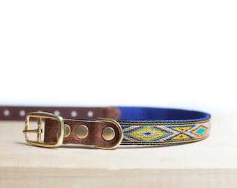 "Custom Leather Blue/Yellow/Sand Dog Collar. Navajo Turquoise 3/4"""