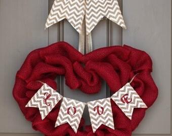Red Burlap Heart Shape Wreath, Red Heart Wreath, Valentine's Day Wreath, Love Chevron Banner, Heart Burlap Wreath,Best Seller