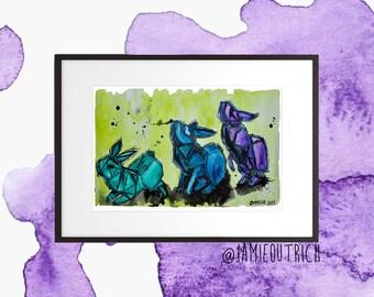 Origami Rabbits Watercolor Print