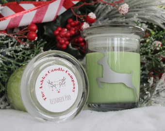 SALE - REINDEER POO Soy Candle! Christmas Candles, 7 oz jar - apple candle, pine candle, eucalyptus candle, patchouli candle, holiday candle