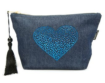 Denim Rhinestone Heart Bag, Cosmetic Bag, Toiletries Bag, Make-up Bag, Zipper Bag