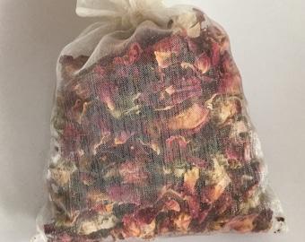 Flower Petal Sachet ~ Rose Petal Sachet ~ French Lavender Sachet ~ Fragrant, Eco-Friendly, Vegan, All Natural ~ Bath Time/Wedding Favors