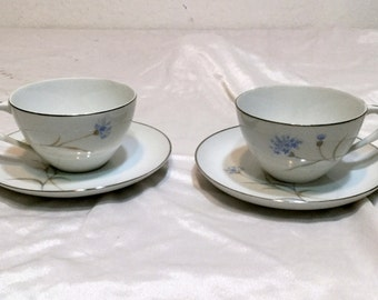Sango Corn Flower Fine China 2 Cup and Saucer Sets Cornflower