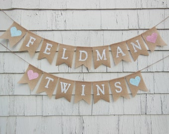 Twins Baby Shower Banner, Twins Bunting, Twice Blessed Banner, Twins Baby Shower Decorations, Twin Girls, Twin Boys, Twins Gender Reveal