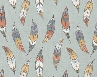 Feathers - Sage 174-3 by Lewis & Irene Fabrics Cotton Fabric Yardage