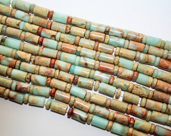 Opal Beads, Long Tube Gemstone Beads, Thin Cylinder Connector Beads  - 10x6mm - 63ct - D136