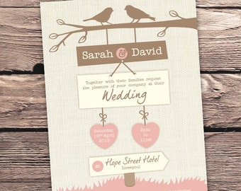 Burlap style 'Love Tree' Wedding Invitation & Stationery - Customisable
