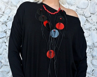 Black and Red Necklace / Extravagant Leather Necklace with Waxed Cotton Thread / Black and Red Leather Necklace TLJ45 URBAN MUSE