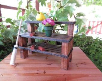 Fairy Garden Plant Stand garden station miniature fairy house cottage door