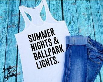 Summer nights and ballpark lights, Softball mom, Baseball mom, Softball, Baseball, Softball shirt, Baseball shirt, Mom life, Softball life