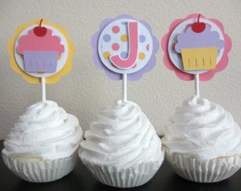 Cupcake Birthday Party Shower Cupcake Toppers Set of 12 Sweet Treats Shop Pink Yellow Purple Lilac Lavender