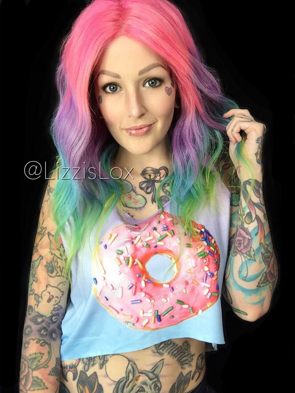 Lace Front Wig Pastel Ombre Rainbow 100 Remy Human Hair Wig