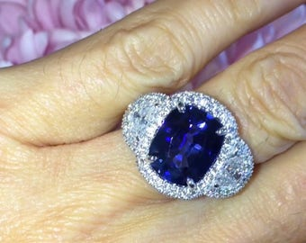 Sapphire Engagement Ring 7.0ct Long Cushion Cut Sapphire Cocktail Ring 3 Stone Ring 1.53ct Natural Diamonds  Wedding Pristine Custom Rings