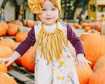 Mustard boho Tomato Fringe Necklace / boho fringe necklace / toddler tassel necklace / boho chic necklace / fabric tie back necklace /girl