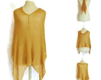 Golden Shawl | Gold Knit Poncho | Light Weight | Sunny Scarf | Spring Summer | Yellow Cover Up | Plus Size Top | Goldenrod Bridesmaid Wrap