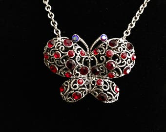 Ruby rhinestones silver butterfly pendant necklace