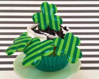 Shamrock Rings (12), Shamrock Cupcake Toppers, St Pat Toppers, St Patrick's Day Cake Picks, Green Stripe St Patricks Day Decorations