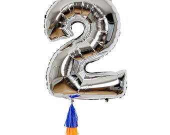 Fancy number balloon 2, Silver foil jumbo 40 inch birthday balloon, Meri Meri giant number 2 balloon with tissue tassels, Two year old