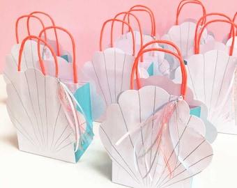 Mermaid Gift Bags, Meri Meri Shell Party Bags (set of 8), Under the Sea Party Bags, Sea Shell Party Favor Bag, Small Handled Paper Bag