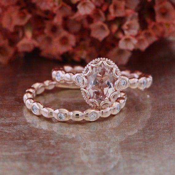 Floral Morganite Wedding Ring Set in 14k Rose Gold 8x6mm Oval