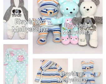 Onesie bear, Memory bear, memory bears, memory animal,  bear from outfit, keepsake bear, bear from baby clothes, bear from sleeper, sleeper