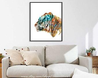 Tiger print watercolor animal art print painting tiger wild animal wall art tiger illustration children wall decor - R31