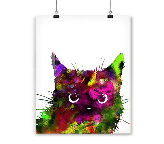 Cat art print colorful watercolor painting children by ...