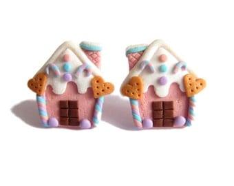 Funny Earrings, Christmas Jewelry, Gingerbread House Earrings, Polymer Clay Earrings Jewelry, Miniature Food Earrings Jewelry, Girls Gifts